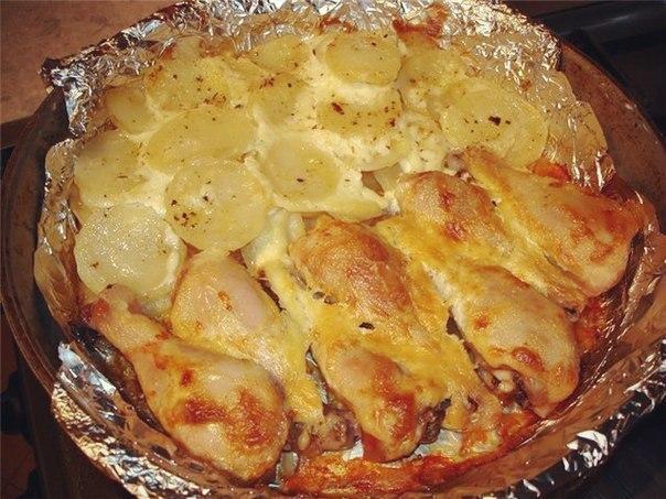 Куриные ножки с картофелем на сковородке