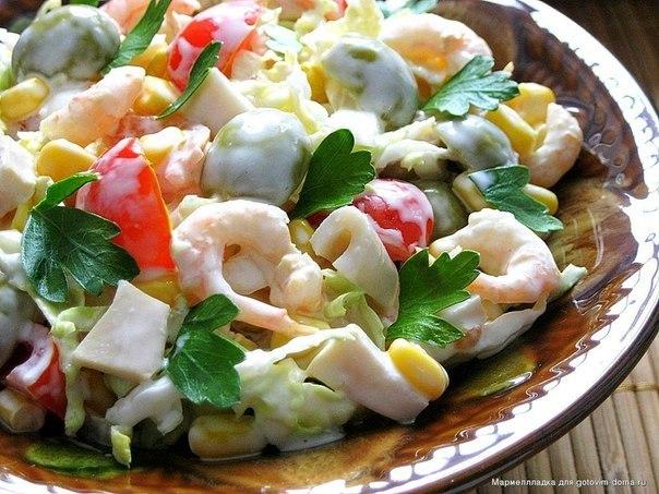 Рецепт салата с морепродуктами и пекинской капустой рецепт