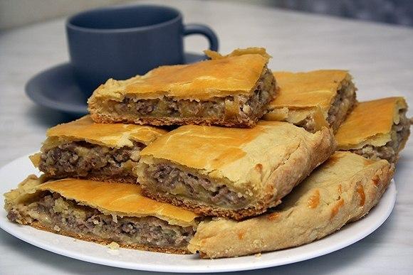 Пирог с сыром и мясом. Рецепт приготовления