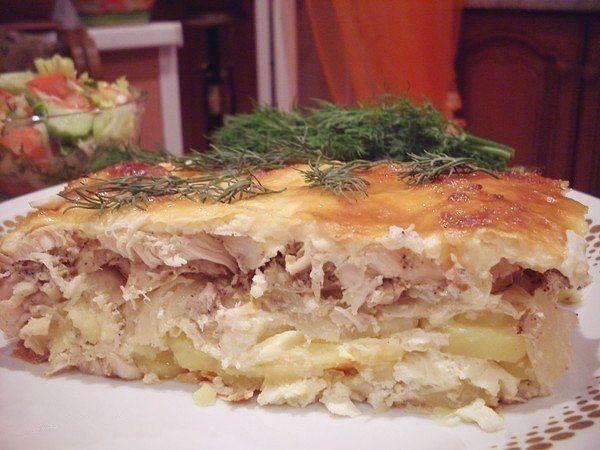 Запеканка картофельная с куриным филе с фото