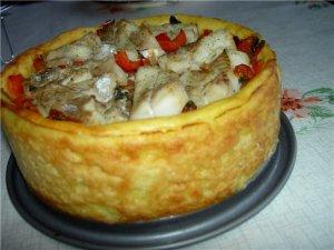 Рецепт приготовления: Рыбка с овощами в картофельной тарелке