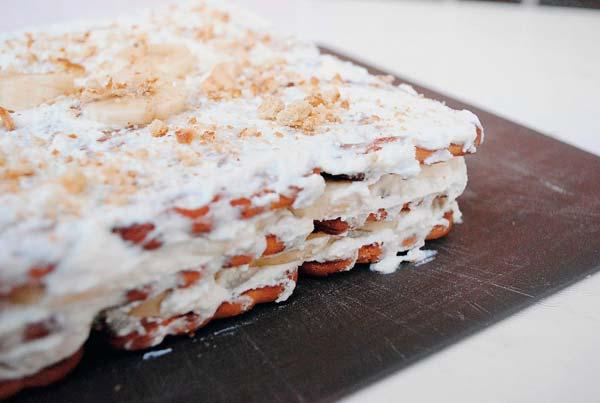 Рецепт 1: Торт из печенья банановый